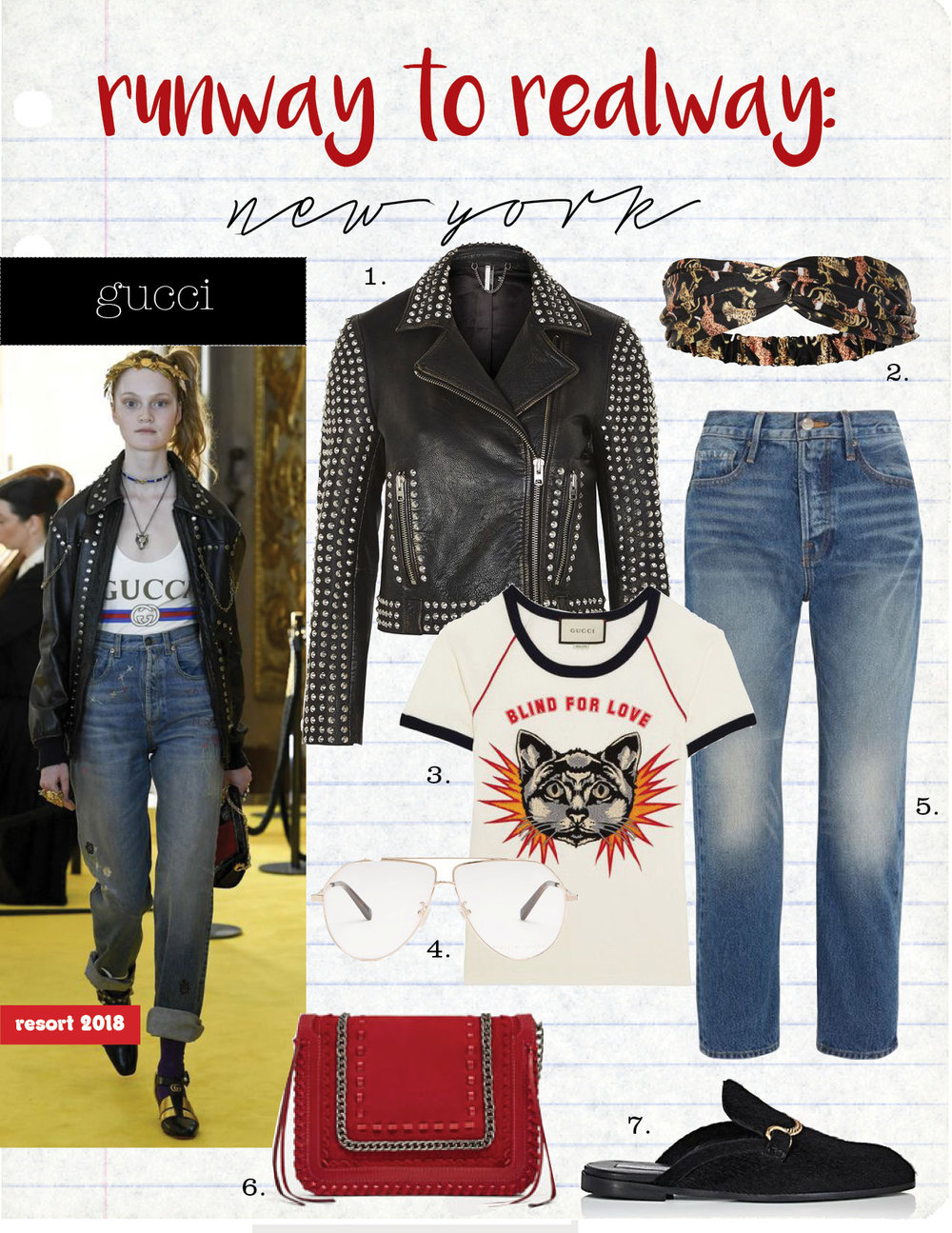 1. topshop studded leather biker jacket, $420,  topshop.com  2. topshop tiger silky headband, $12,  topshop.com  3. gucci appliqued printed cotton-jersey T-shirt, $990,  net-a-porter.com  4. stella mccartney oversized aviator glasses, $268,  matchesfashion.com  5. frame le original cropped high-rise straight-leg jeans, $270,  net-a-porter.com  6. zara red leather cross body bag, $89,  zara.com  7. stella mccartney chain-strap faux-fur slipper slides, $640,  barneys.com