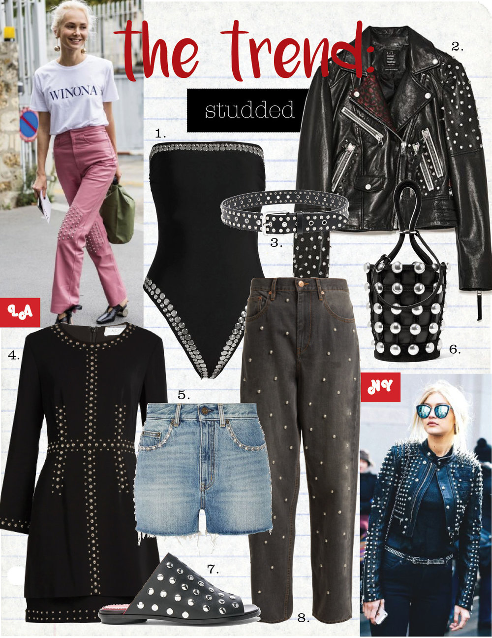 1. norma kamali bishop studded swimsuit, $525,  matchesfashion.com  2. zara studded biker jacket, $99,  zara.com  3. isabel marant rica studded belt, $295,  isabelmarant.com  4. a.l.c madison stud-embellished cady dress, $486,  matchesfashion.com  5. saint laurent studded high-rise denim shorts, $470,  net-a-porter.com  6. alexander wang roxy studded suede-trimmed leather bucket bag, $595,  net-a-porter.com  7. proenza schouler studded leather sandals, $720,  fwrd.com  8. isabel marant etoile curt studded oversize boyfriend fit jeans, $485,  isabelmarant.com