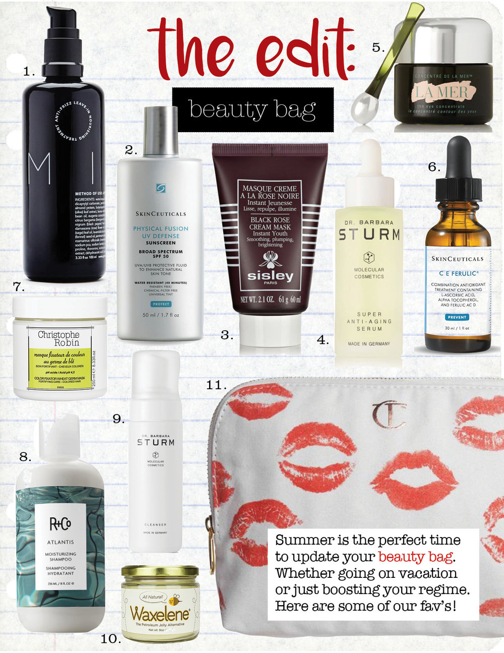 1. reverie milk anti-frizz leave in hair treatment, $29,  theline.com  2. skin ceuticals physical fusion uv defense spf 50, $34,  skinceuticals.com  3. sisley-paris black rose cream mask, $162,  net-a-porter.com  4. dr. barbara sturm super anti-aging serum, $350,  net-a-porter.com  5. la mer eye concentrate 15ml, $195,  net-a-porter.com  6. skin ceuticals c e ferulic serum, $165,  skinceuticals.com  7. christophe robin color fixator wheat germ mask, $43,  us.christophe-robin.com  8. r+co atlantis moisturizing shampoo, $28,  barneys.com  9. dr. barbara sturm cleanser, $70,  net-a-porter.com  10.  waxelene salve, $34,  musely.com  11. charlotte tilbury makeup bag, $20,  shop.nordstrom.com