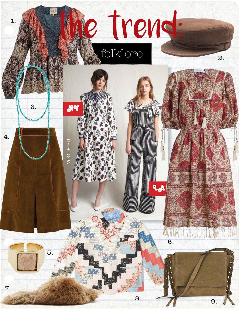 1. Sea maho border floral- print silk blouse, $437,  matchesfashion.com  2. maison michel new abby suede cap, $415,  matchesfashion.com  3. lagos 18k gold and turquoise single strand necklace, $600,  macys.com  4. prada corduroy skirt, $1350,  prada.com  5. isabel marant stone - embellished ring, $191,  matchesfashion.com  6. zimmerman tulsi border day dress, $640,  zimmermannwear.com  7. simone rocha faux - fur slides, $406,  matchesfashion.com  8. bode farm quilted workwear jacket, $1454,  bodenewyork.com  9. isabel marant asli suede calfskin shoulder bag, $590,  isabelmarant.com
