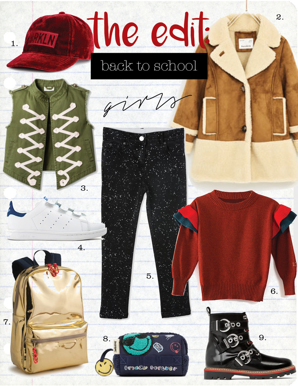 1. h&m cap with APPLIQUÉ at front, $9,  hm.com   2. zara shearling coat, $59,  zara.com  3. cat & jack sleeveless vest, $19,  target.com  4. adidas stan smith sneakers, $65,  jcrew.com  5. stella mccartney nina splatter print jeans, $104,  stellamccartney.com  6. bobo choses ruffles knitted jumper, $105,  yoyanyc.com  7. jcrew kids' iridescent backpack, $68,  jcrew.com  8. zara smiley case, $15,  zara.com  9. zara leather biker boots with buckles, $65,  zara.com