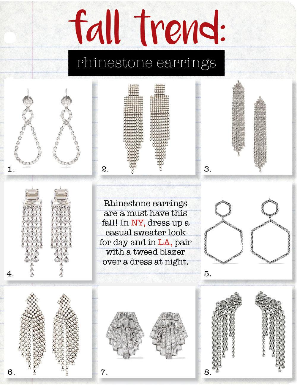 1. miu miu crystal-encrusted drop earrings, $277,  matchesfashion.com  2. jennifer behr lorraine earrings, $425,  shopbop.com  3. topshop cupchain drape drop earrings, $22,  topshop.com  4. isabel marant crystal-embellished earrings, $485,  mytheresa.com  5. isabel marant silver-tone crystal earrings, $495,  net-a-porter.com  6. kenneth jay lane earrings, $100,  shopbop.com  7. saint laurent silver-tone crystal clip earrings, $895,  net-a-porter.com  8. isabel marant crystal cascade earrings, $485,  fwrd.com