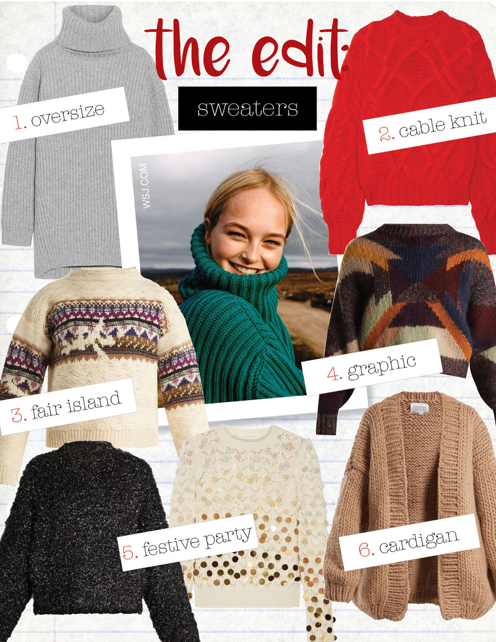1. acne studios disa oversized ribbed wool turtleneck sweater, $329,  net-a-porter.com  2. ulla johnson pilar cable-knit wool sweater, $795,  net-a-porter.com  3. isabel marant etoile fair-isle sweater, $437,  matchesfashion.com  4. isabel marant cadelia cropped sweater, $909,  matchesfashion.com  5. marc jacobs seqiuned sweater, $346,  net-a-porter.com  6. i love mr. mittens chunky cardigan, $539,  matchesfashion.com
