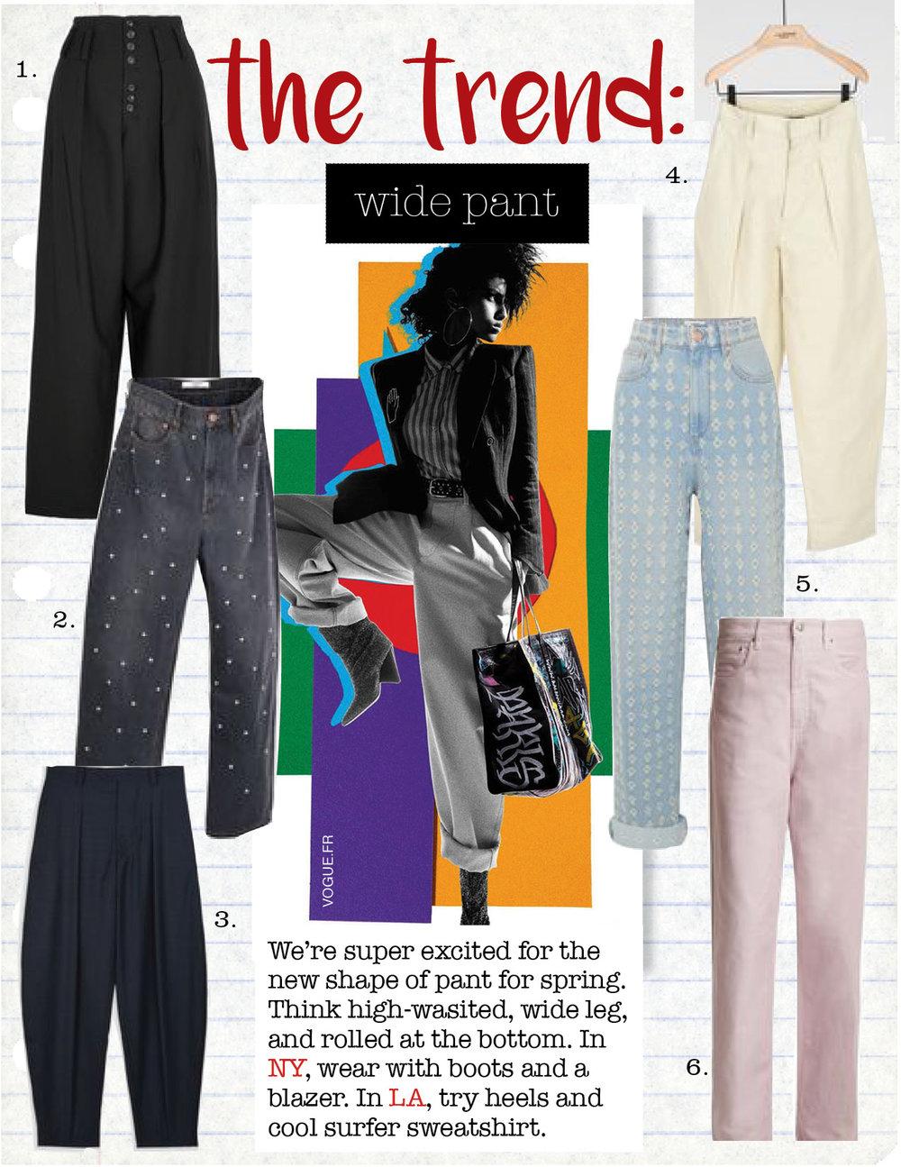 1. joseph howard stretch-gabardine wide-leg pants, $298,  net-a-porter.com  2. isabel marant etoile curt studded oversize boyfriend fit jeans, $194,  isabelmarant.com  3. isabel marant mexi oversize new wool trousers, $334,  isabelmarant.com  4. isabel marant hexi wide leg pants, $550,  isabelmarant.com  5. isabel marant etoile cory distressed boyfriend jeans, $395,  net-a-porter.com  6. isabel marant etoile forby straight-leg jeans, $290,  matchesfashion.com