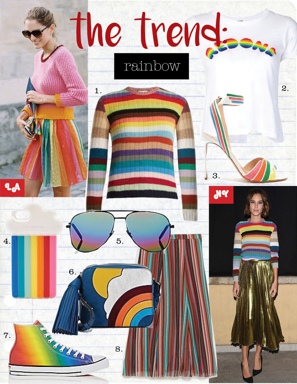 1. gucci long-sleeved striped cashmere-blend sweater, $1200,  matchesfashion.com  2. re/done rainbow logo t-shirt, $154,  farfetch.com  3. valentino striped leather and suede sandals, $1045,  matchesfashion.com  4. stella mccartney rainbow iphone 7 case, $85,  matchesfashion.com  5. saint laurent classic 11 rainbow sunglasses, $380,  barneys.com  6. anya hindmarch appliqued crossbody bag, $1095,  barneys.com  7. converse chuck taylor all star canvas sneakers, $65,  barneys.com  8. zara skirt with multicolored stripes, $45,  zara.com