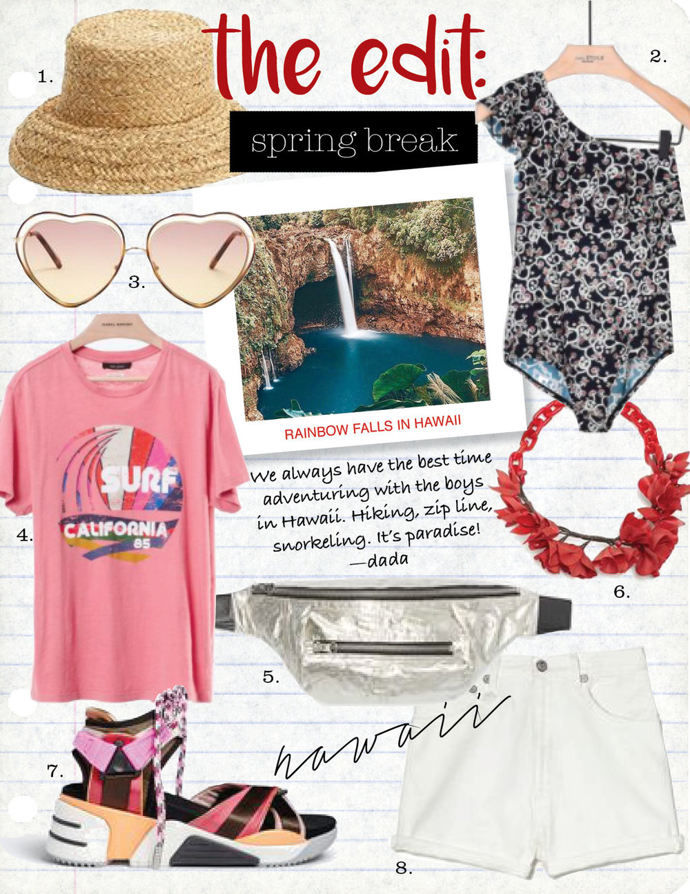 1. janessa leone natural straw sydney bucket hat, $143,  janessaleone.com  2. isabel marant etoile sicilya one piece swimsuit, $235,  isabelmarant.com  3. chloe poppy heart-shaped frame sunglasses, $344,  matchesfashion.com   4. isabel marant zaffer printed tee, $155,  isabelmarant.com  5. isabel marant noomi belt bag, $495,  isabelmarant.com  6. isabel marant honolulu flower necklace, $949,  matchesfashion.com  7. marc jacobs somewhere sport sandal, $275,  marcjacobs.com  8. r13 high-rise hailey shorts, $325,  goop.com