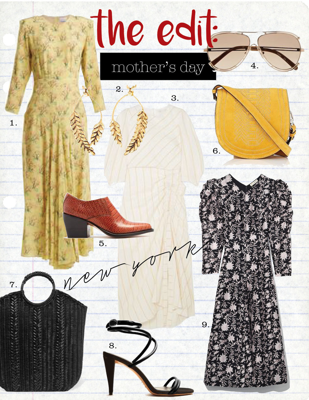 1. raey bracelet sleeve acid tree-print silk dress, $540,  matchesfashion.com  2. aurelie bidermann wheat gold-plated earrings, $320,  net-a-porter.com  3. maje ruched striped gauze midi dress, $570,  net-a-porter.com  4. chloe isidora aviator-style gold-tone sunglasses, $400,  net-a-porter.com  5. chloe rylee leather ankle boots, $880,  matchesfashion.com  6. altuzarra ghianda small suede saddle bag, $1495,  barneys.com  7. ulla johnson rona wicker tote, $390,  net-a-porter.com  8. isabel marant abigua tie-ankle leather sandals, $695,  matchesfashion.com  9. ulla johnson fontaine floral cotton-silk dress, $575,  barneys.com