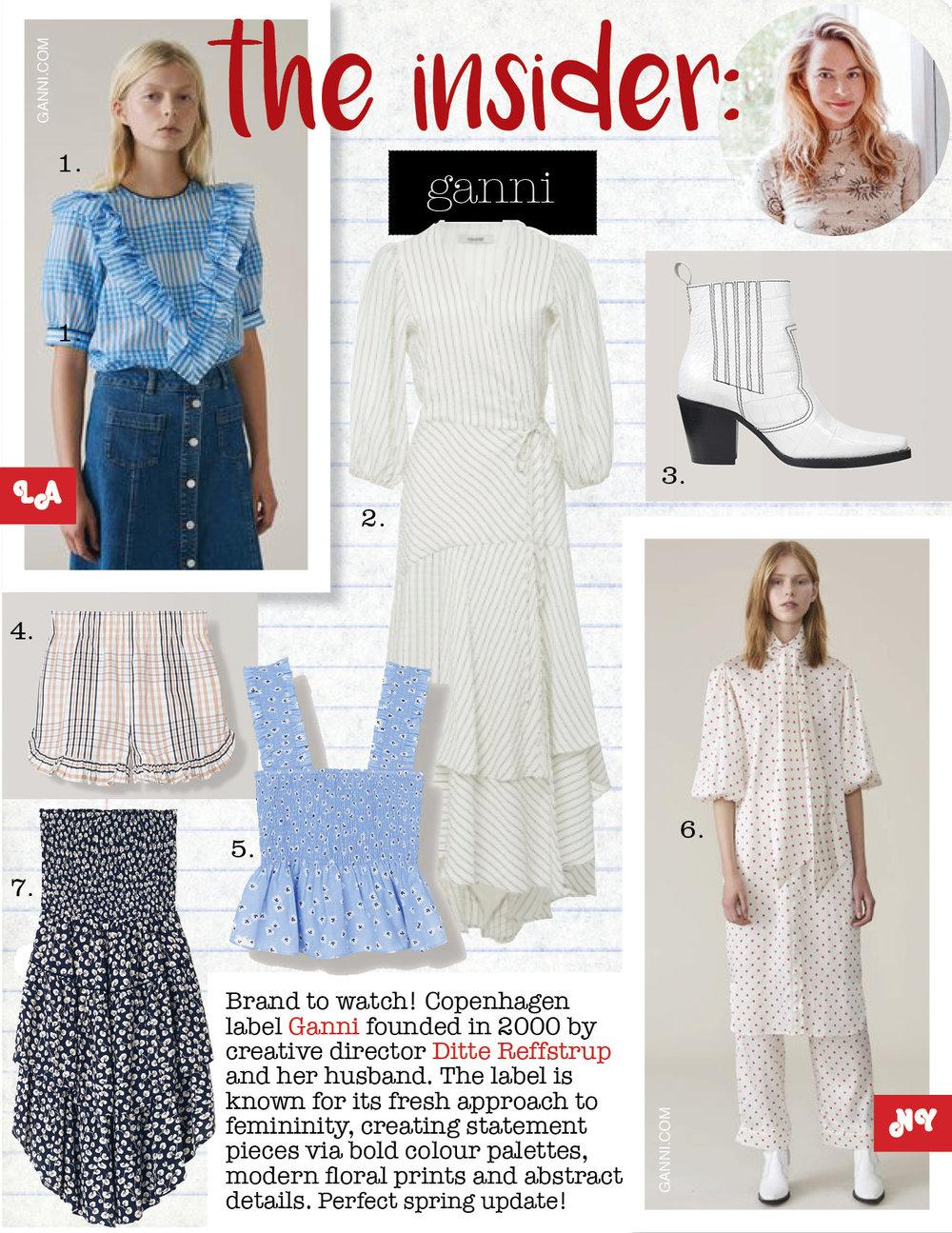 1. Ganni charron blouse, $170,  ganni.com  2. ganni wilkie seersucker wrap dress, $675,  ganni.com  3. ganni callie ankle boots, $475,  ganni.com  4. ganni phillips cotton shorts, $125,  ganni.com  5. ganni beacon top, $145,  ganni.com  6. ganni dufort silk dress, $475,  ganni.com  7. ganni roseburg crepe skirt, $205,  ganni.com