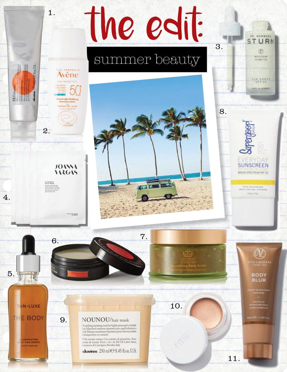 1. davines su aftersun cream for face and body, $29,  net-a-porter.com  2. avene spf50+ mineral ultra-light hydrating sunscreen lotion, $28,  net-a-porter.com  3. dr. barbara sturm sun drops, $145,  violetgrey.com  4. joanna vargas euphoria mask, $75,  violetgrey.com  5. tan-luxe the body illuminating self-tan drops, $59,  net-a-porter.com  6. christophe robin intense regenerating balm, $60,  net-a-porter.com  7. tata harper smoothing body scrub, $75,  net-a-porter.com  8. supergoop everyday spf50, $32,  supergoop.com  9. davines nounou hair mask, $34,  net-a-porter.com  10. rms beauty mix master, $38,  violetgrey.com  11. vita liberata body blur instant skin finish, $45,  violetgrey.com