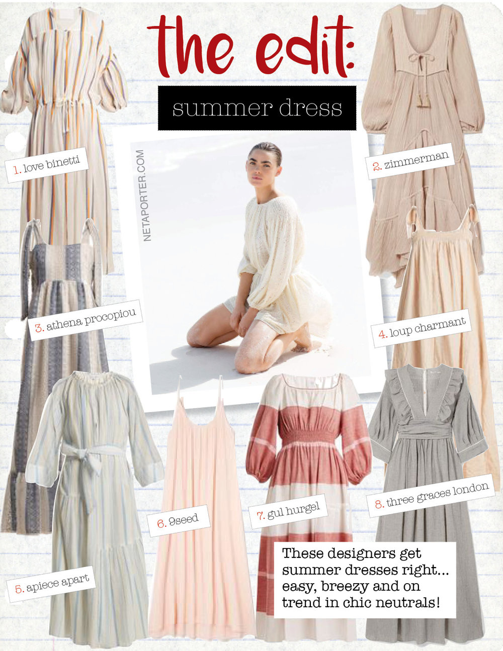 1. love binetti dropped shoulder cotton dress, $456,  matchesfashion.com  2. zimmerman bayou crinkled ramie and cotton-blend midi dress, $590,  net-a-porter.com  3. athena procopiou tie-shoulder lace dress, $1014,  matchesfashion.com  4. loup charmant bastille square-neck striped cotton dress, $608,  matchesfashion.com  5. apiece apart stella striped cotton dress, $484,  matchesfashion.com  6. 9seed tulum cotton maxi dress, $136,  9seed.com  7. gul hurgel puff-sleeved striped linen-blend dress, $1008,  matchesfashion.com  8. three graces london adeline striped cotton-blend maxi dress, $890,  net-a-porter.com