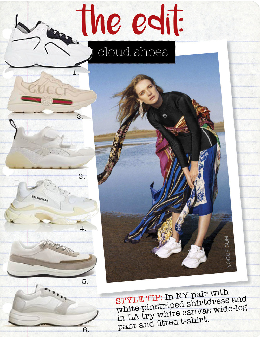 1. acne studios manhattan leather, suede and mesh sneakers, $470,  net-a-porter.com  2. gucci rhyton leather sneakers, $820,  barneys.com  3. stella mccartney eclypse low-top contrast-panel trainers, $685,  matchesfashion.com  4. balenciaga women's triple s leather & mesh sneakers, $895,  barneys.com  5. a.p.c. running suede-panel shell trainers, $310,  matchesfashion.com  6. celine delivery running sneaker in calfskin, $880,  celine.com