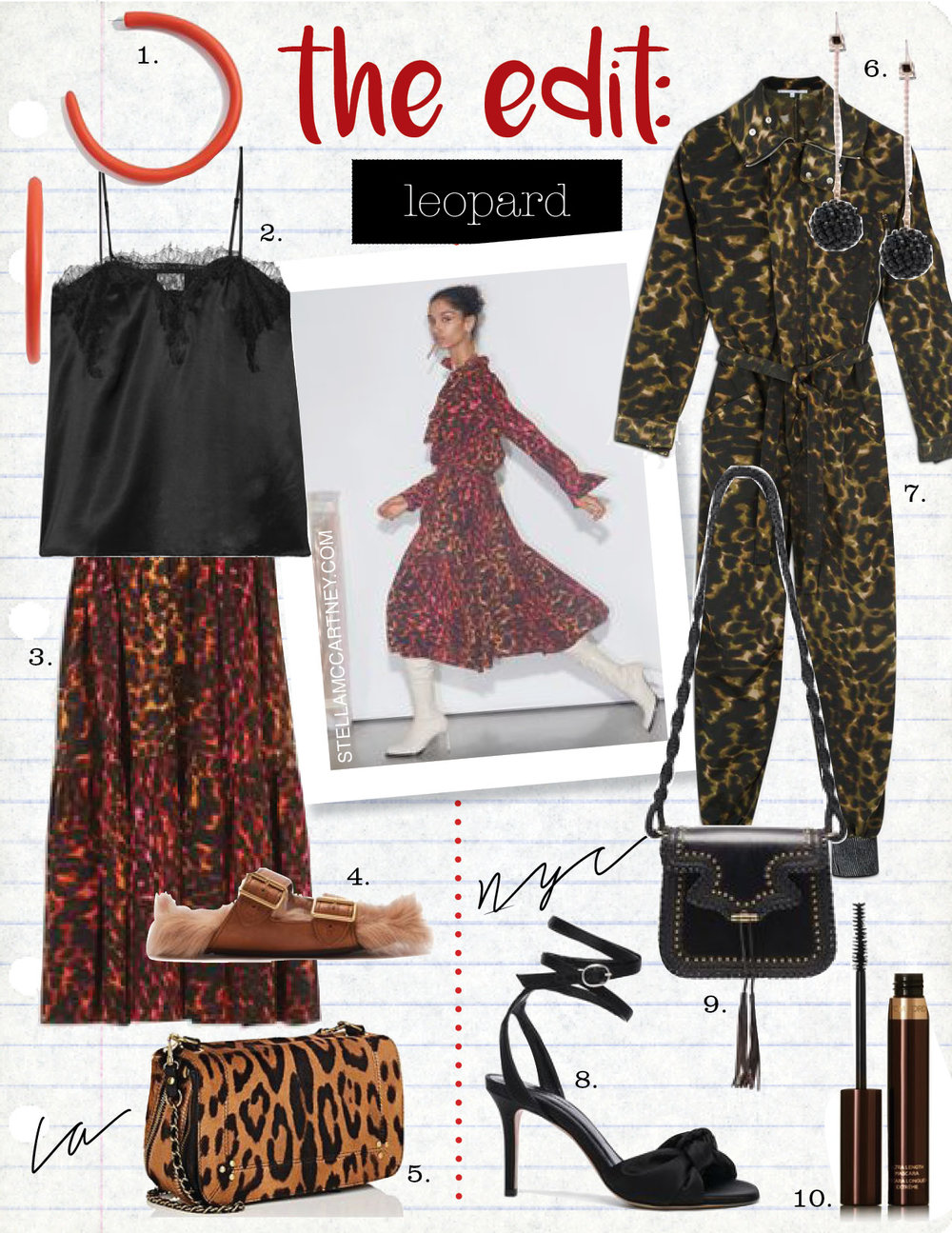 1. dinosaur designs extra large loop earrings, $185,  shopbop.com  2. cami nyc the sweetheart lace-trimmed silk camisole, $160,  net-a-porter.com  3. stella mccartney tanya leopard camouflage skirt, $1175,  stellamccartney.com  4. prada shearling-lined leather sandals, $847,  matchesfashion.com  5. jerome dreyfuss bobi small calf hair shoulder bag, $980,  barneys.com  6. isabel marant ada earrings in black, $395,  fwrd.com  7. stella maccartney ally camouflage jumpsuit, $1790,  stellamccartney.com  8. isabel marant satin abenya heels in black, $740,  fwrd.com  9. ulla johnson esti shoulder bag, $895,  ullajohnson.com  10. tom ford beauty ultra length mascara, $46,  net-a-porter.com