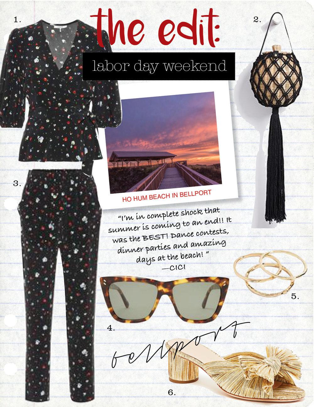 1. ganni nolana floral silk top, $315,  mytheresa.com  2. ulla johnson leia bag, $425,  shopbop.com  3. ganni nolana floral silk pants, $295,  mytheresa.com  4. stella maccartney cat-eye tortoiseshell sunglasses, $260,  matchesfashion.com  5. gorjana g rings set of 3, $45,  shopbop.com  6. loeffler randall emilia pleated knot slide, $350,  loefflerrandall.com