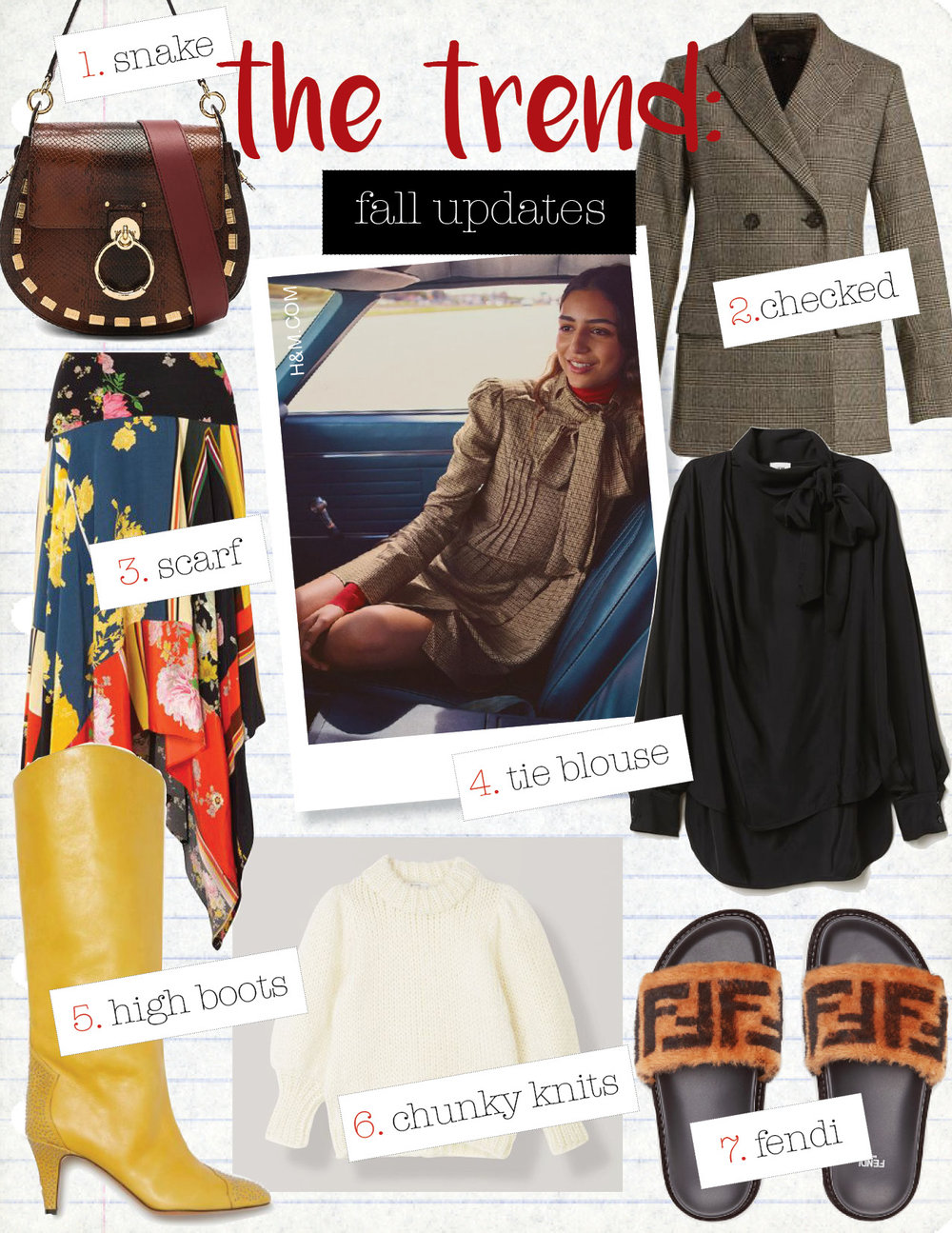 1. chloe tess printed watersnake shoulder bag, $2350,  fwrd.com  2. nili lotan leander prince of whales-check blazer, $1219,  matchesfashion.com  3. preen line eva asymmetric printed crepe de chine midi skirt, $540,  net-a-porter.com  4. h&m blouse with ties, $79,  hm.com  5. isabel marant lesten high boots, $1550,  isabelmarant.com  6. ganni juliard mohair puff sleeve pullover, $450,  ganni.com  7. fendi brown leather and sheepskin slides, $690,  fendi.com