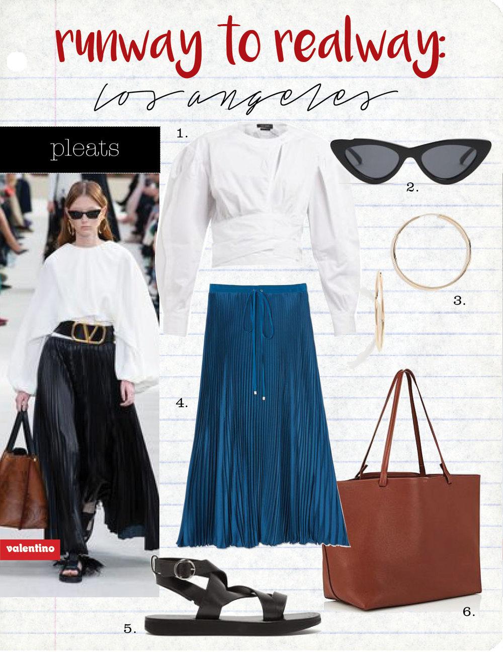 1. Isabel Marant cut-out cotton top, $515,  matchesfashion.com  2. le specs the last lolita cat-eye sunglasses, $80,  matchesfashion.com  3. shashi samantha small hoop earrings, $46,  shopbop.com  4. tibi mendini twill pleated skirt, $595,  goop.com  5. Isabel Marant noelly leather sandals, $680,  matchesfashion.com  6. the row park leather tote bag, $1790,  barneys.com