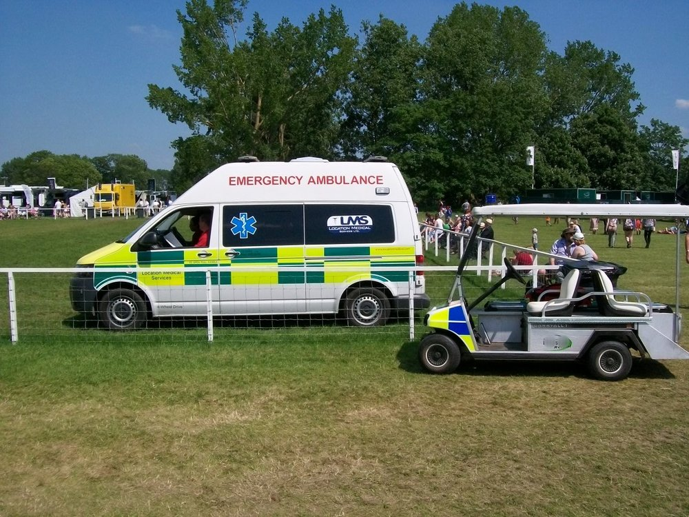 Golf Buggy Ambulance support by road ambulance