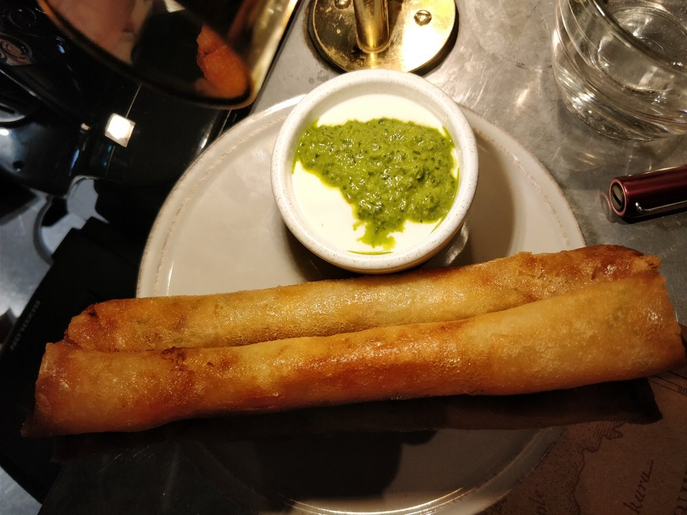 The Barbary - Spicy fish wrapped in filo pastry and served with yogurt and corriander pesto