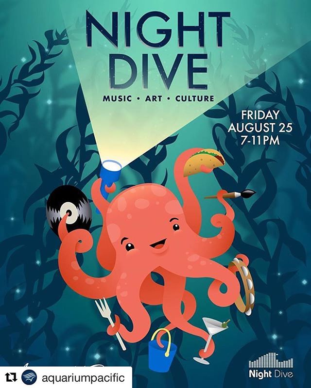 Playing night dive this Friday! Thanks @aquariumpacific for having me! It's gonna be amazing! :) #longbeach #seeyouthere #nightdive
