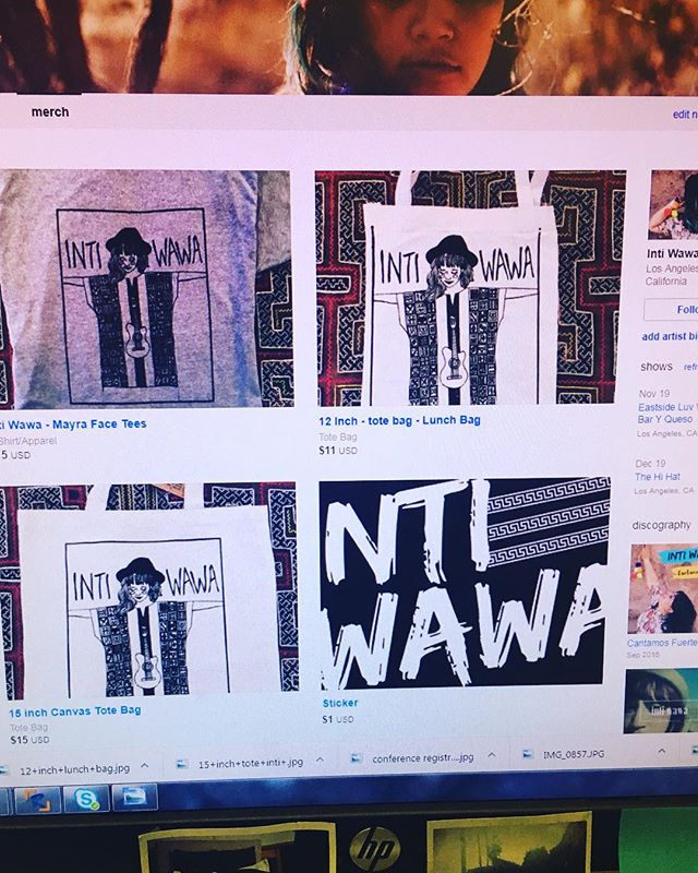 My new Inti Wawa merch is up on my bandcamp now!!!! Help me continue making great music via purchasing these amazing items deigned by @watts.designs.co ❤️❤️❤️ if you want to buy in person and pick up please email Inti.wawa.musica@gmail to coordinate! :) #merch #indieartist #supportlocalmusic