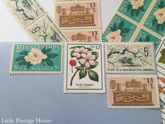 Vintage Custom or Regular Postage for Wedding Invitations