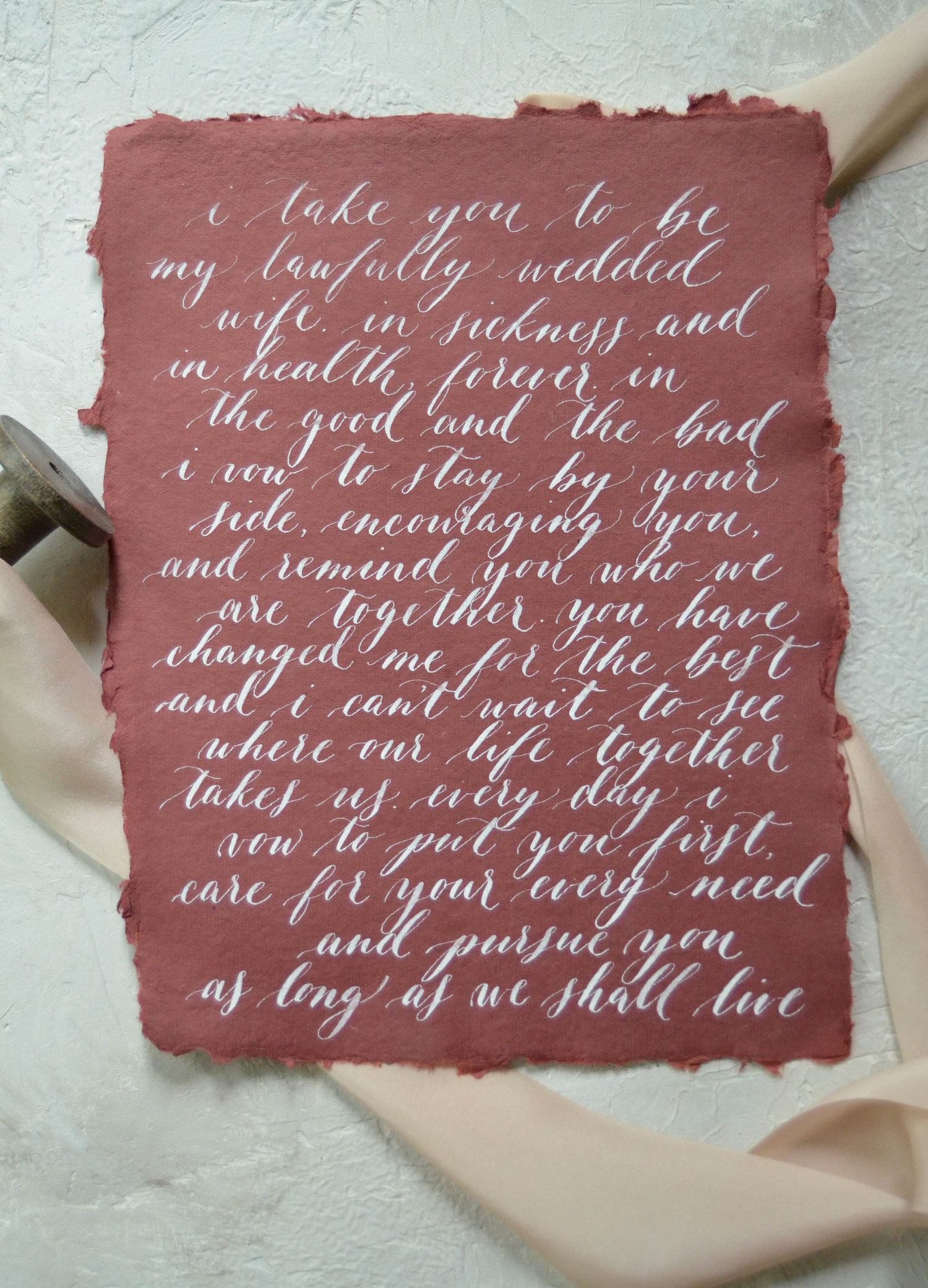Calligraphy Vows Custom Calligraphy Wedding Vow Art First