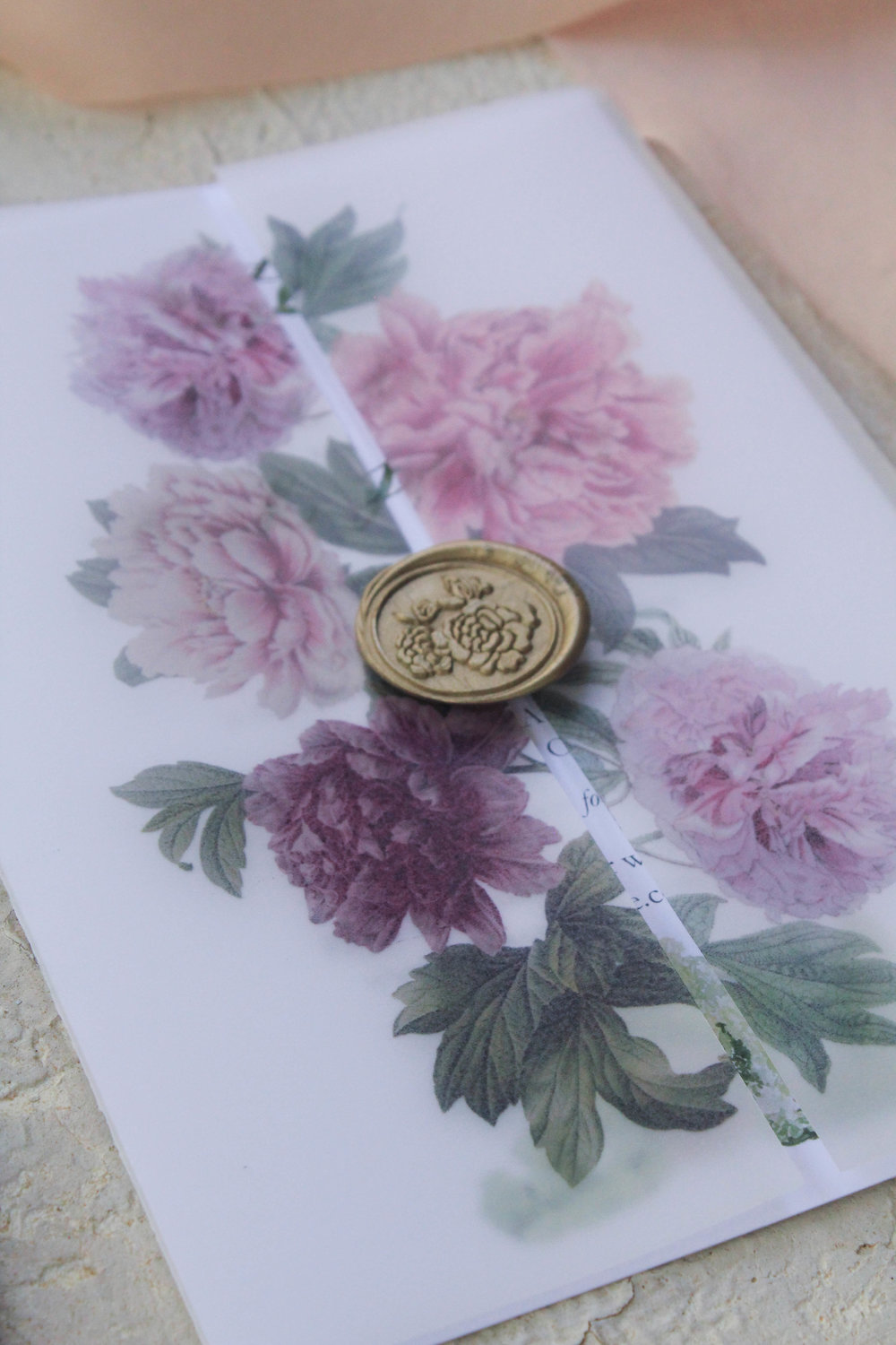vellum wraps with printed vintage peonies