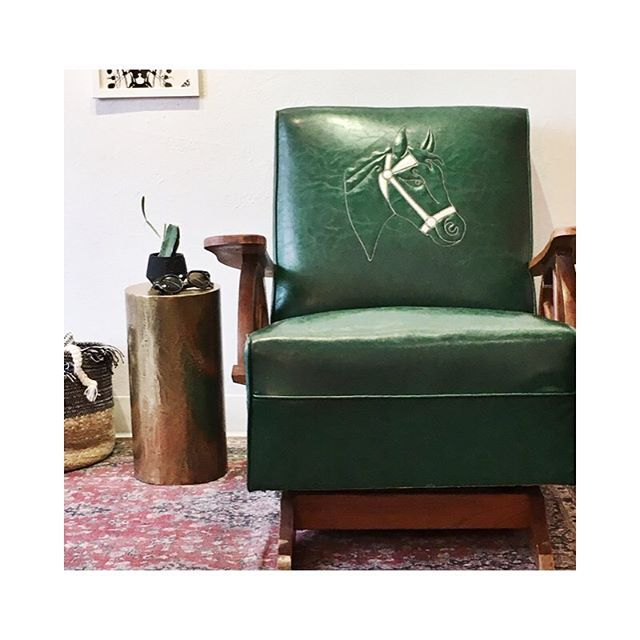 * SOLD * Time to let go of the mid century cowboy chair. To a good home only. This one's special. $75 pick up only.  #wagonwheel #rocker #interiors #aldenfinch #greenisgood #design #furniture #midcenturymodern #stiched #horse #denver #denvercolorado #vintage