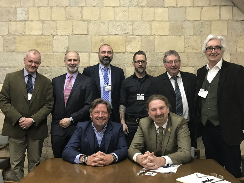 From left to right: Craig Carey-Clinch (Secretariat), Fabian Hamilton MP, Charley Boorman (WRL), Mike Butler (WRL), Dutch Van Someren (WRL), Chris Law MP,  Sammy Wilson MP, Leon Manning (MAG)