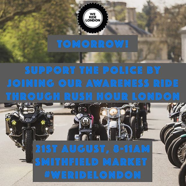 Join us tomorrow on our 21st August rush hour ride through London to support the police gaining appropriate powers to deal with motorcycle & scooter crime without fear of unfair and disproportionate action taken against them. Meet at Smithfield Market at 8AM. We will ride through London and Westminster before dispersing after Scotland Yard. Check our blog post for full details including ride guidelines.  http://www.weridelondon.com/blog/2017/7/9/supportthepoliceaugust21  #WeRideLondon #BikersUnited #ProtectBikers #MopedCrime  #London #bikers #motorbikes #Londonbikers #yamaha #suzuki #ducati #honda #sportsbike #motorbike #motolife #instamoto #bikersofinstagram #caferacer #sportbike #harleydavidson #motorcycle #superbike #tracker #scrambler #scooter #moped #community #triumph #shoei #arai