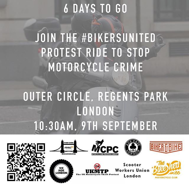 6 days to go before the #BikersUnited ride. 10:30AM, Outer Circle, Regents Park, London. #WeRideLondon #MopedCrime https://www.facebook.com/events/113719599294862