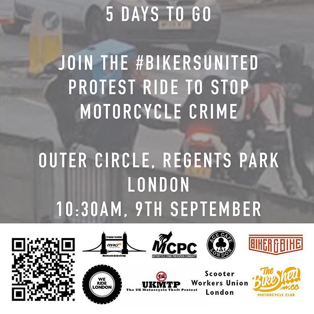 5 days to go before the #BikersUnited ride. 10:30AM, Outer Circle, Regents Park, London. #WeRideLondon #MopedCrime https://www.facebook.com/events/113719599294862