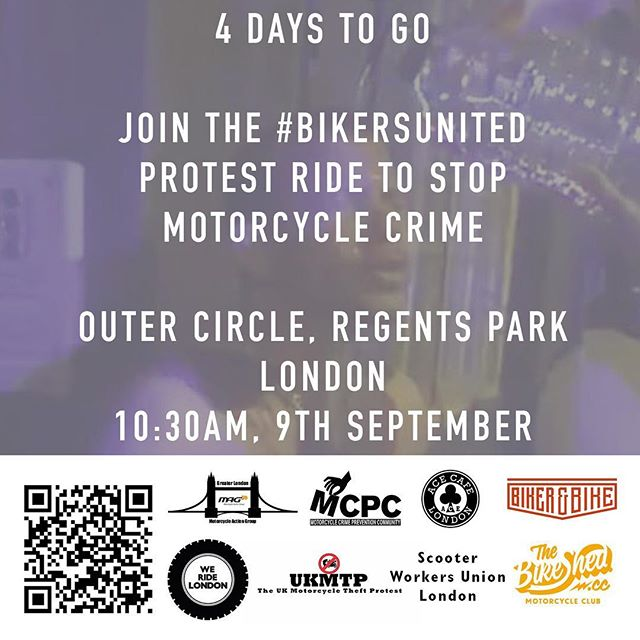 4 days to go before the #BikersUnited ride. 10:30AM, Outer Circle, Regents Park, London. #WeRideLondon #MopedCrime https://www.facebook.com/events/113719599294862
