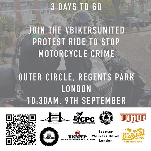3 days to go before the #BikersUnited ride. 10:30AM, Outer Circle, Regents Park, London.  #WeRideLondon #MopedCrime #ProtectBikers  https://www.facebook.com/events/113719599294862