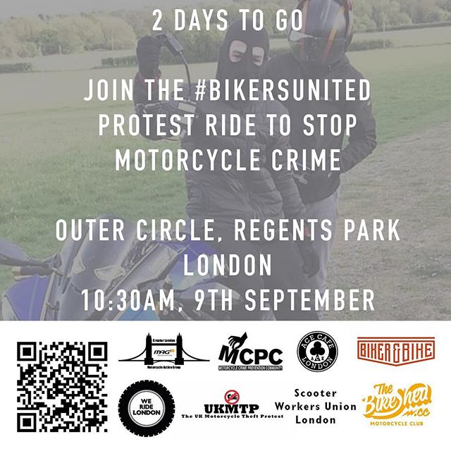2 days to go before the #BikersUnited ride. 10:30AM, Saturday September 9th, Outer Circle, Regents Park, London.  #WeRideLondon #MopedCrime #ProtectBikers  https://www.facebook.com/events/113719599294862