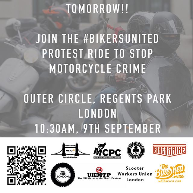 The #BikersUnited ride is tomorrow! 10:30AM, Saturday September 9th, Outer Circle, Regents Park, London.  #WeRideLondon #MopedCrime #ProtectBikers  https://www.facebook.com/events/113719599294862