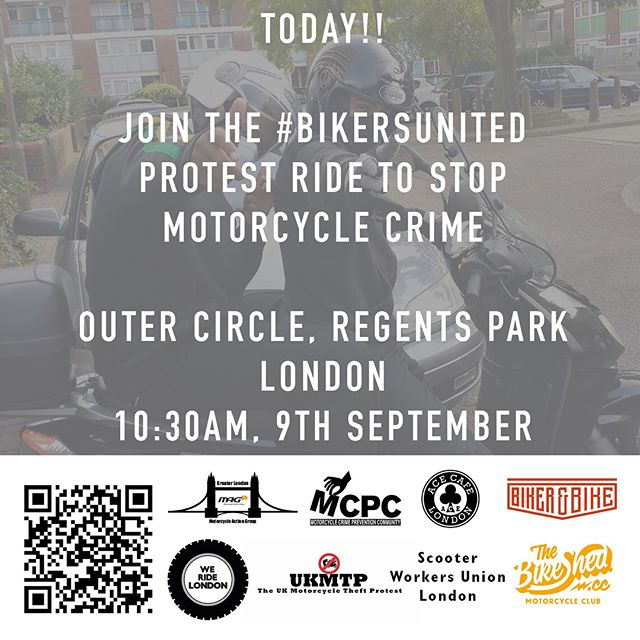 The #BikersUnited ride is today! See you at 10:30AM, Saturday September 9th, Outer Circle, Regents Park, London.  #WeRideLondon #MopedCrime #ProtectBikers  https://www.facebook.com/events/113719599294862