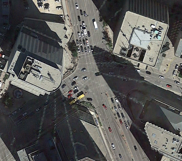 Google Earth Pro: Portage and Main intersection, 2018.