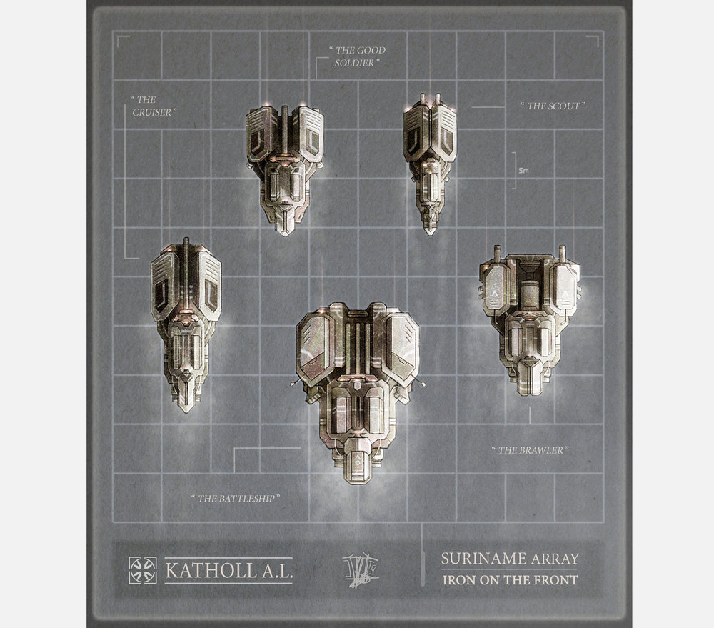 Katholl's  Suriname  family of aerospace gunships. This promotional shows the five hull types over a six metre grid.    Clockwise from left:   Model CVA-40 the Cruiser features speed and lethal precision. Its business is the hunting of opponent ships. To that end its Linebhek railgun hurls the fastest projectiles of any Katholl unit.  Model MK-V is the shock-trooping generalist of the array, and the most numerous in any engagement. It is hardy, amply protected, and stops at nothing.  Model LMR-2X is a swift, nimble reconnaissance platform packing a decent punch for its size. It operates alone or in pairs, frequently with a CVA-40 close behind.  Model BM-H4K is a short-range butcher fielding a massive demolition gun. When employed in conventional assaults it typically motors insidiously in just behind the vanguard.  Model MB-GH8 is aptly dubbed, and the heftiest of the array. It spearheads assaults with its battering ram of a prow, and more than trebles the armament of a MK-V. It is a target of high value, and rarely spotted alone.