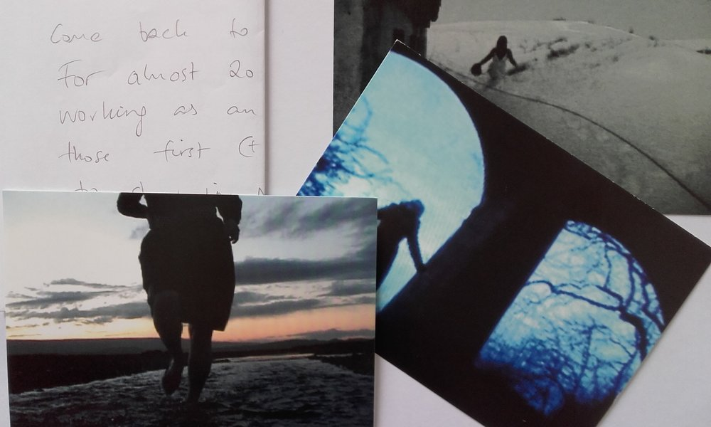 Documentation of ATE Exchange.Handwritten letter, artist postcards from Kristin Scheving to Caroline Kelley.