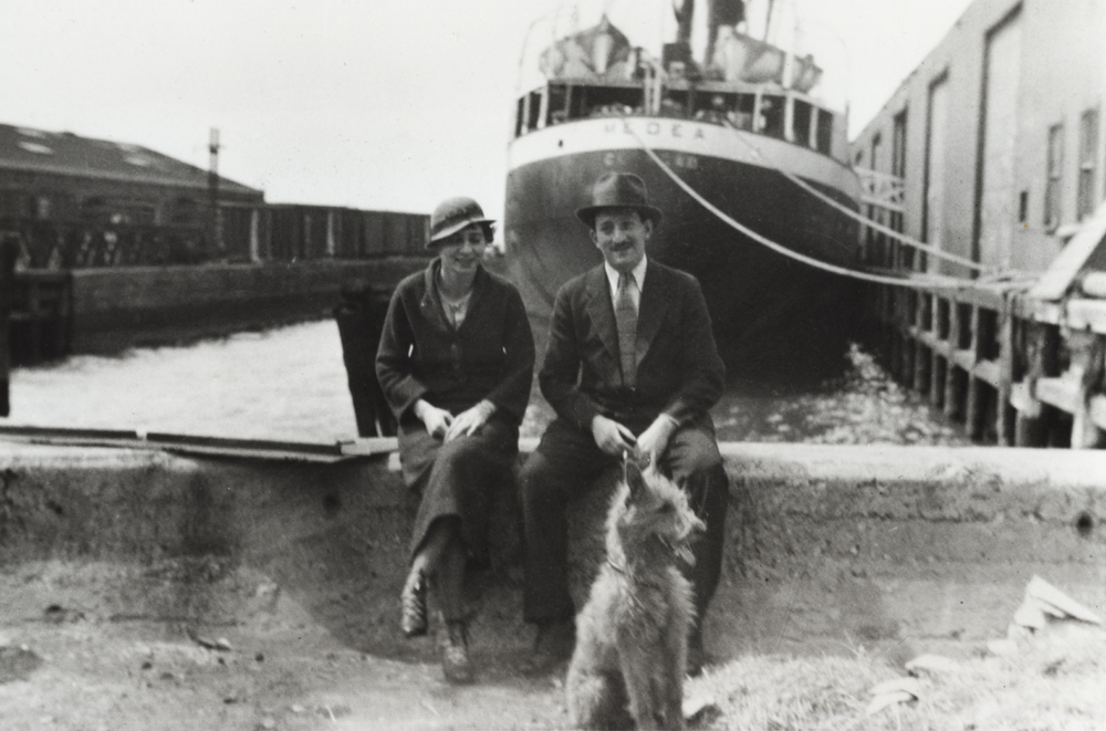Adolph and Esther Gottlieb<br> with dog Mickey <br>Brooklyn docks,  mid-1930s