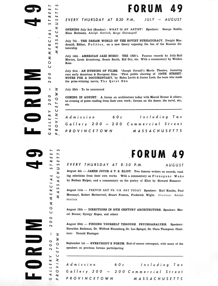 Flyer for Forum 49<br>1949