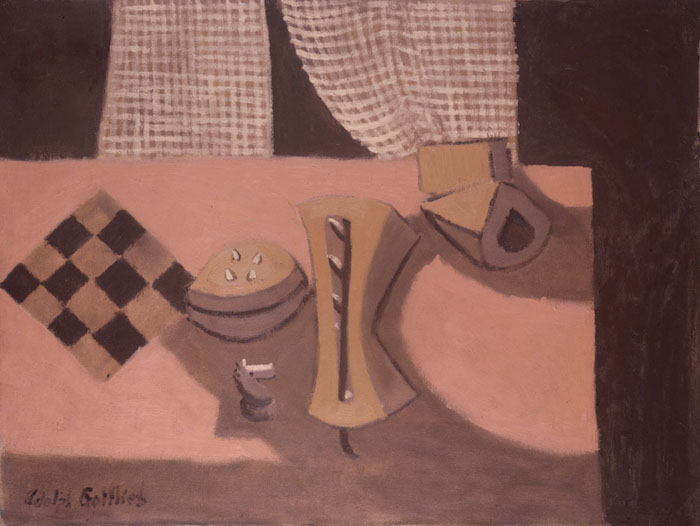 <br><i>Untitled (Pink Still Life - Curtain and Gourds)</i> <br>c. 1938<br>Oil on canvas<br>30 x 39""