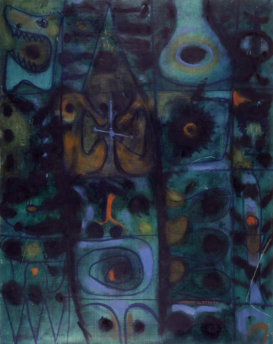 <br><i>Water, Air, Fire</i> <br> 1947<br>Oil on pressed board<br>30 x 24""