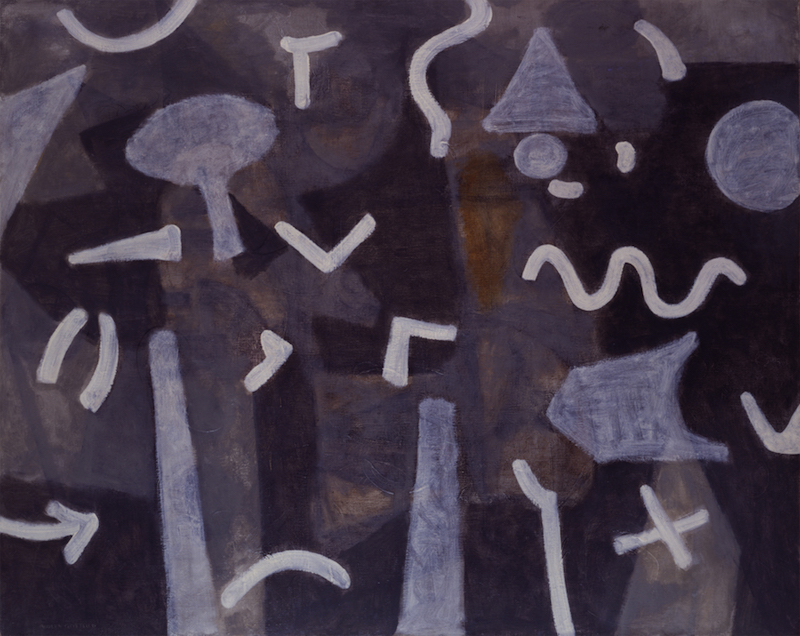 <br><i>Sounds at Night</i> <br> 1948<br>Oil and charcoal on linen<br>48 x 60""