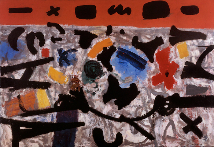 <br><i>Hot Horizon</i> <br> 1956<br>Oil on canvas<br>50 x 72""
