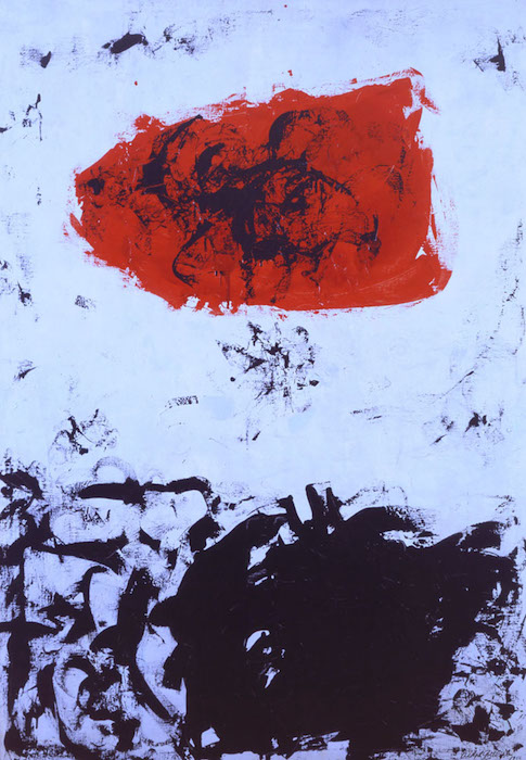 <br><i>Black, Blue, Red</i> <br> 1956<br>Oil and enamel on linen<br>72 x 50""