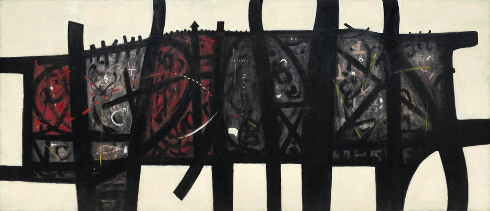 <br><i>Unstill Life III</i> <br> 1954<br>Oil on canvas<br>84 x 192""