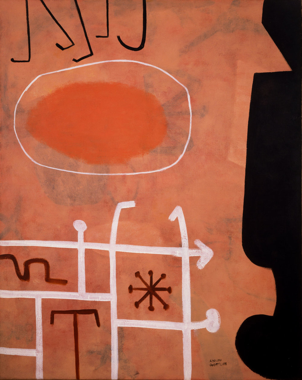 <br><i>Sentinel</i> <br> 1951<br>Oil on canvas<br>60 x 48""