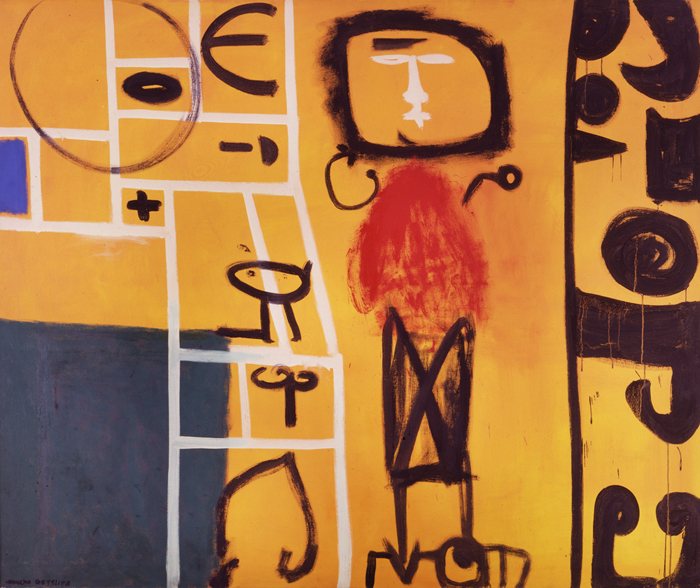<br><i>Symbols and a Woman</i> <br> 1951<br>Oil on canvas<br>60 x 72""