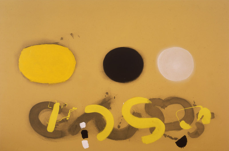<br><i>Three Discs on Chrome Ground</i> <br> 1969<br>Oil on canvas<br>48 x 72""